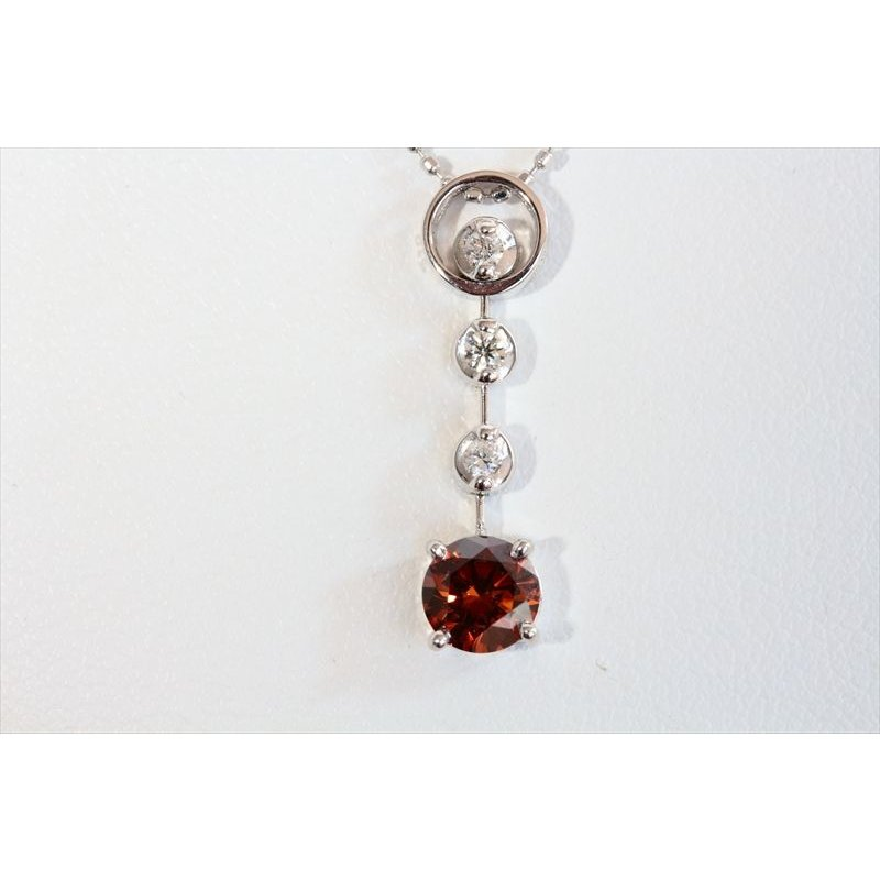 天然 ファンシー ブラウン ダイヤモンド ネックレス K18WG 新品 レディース megumi-1