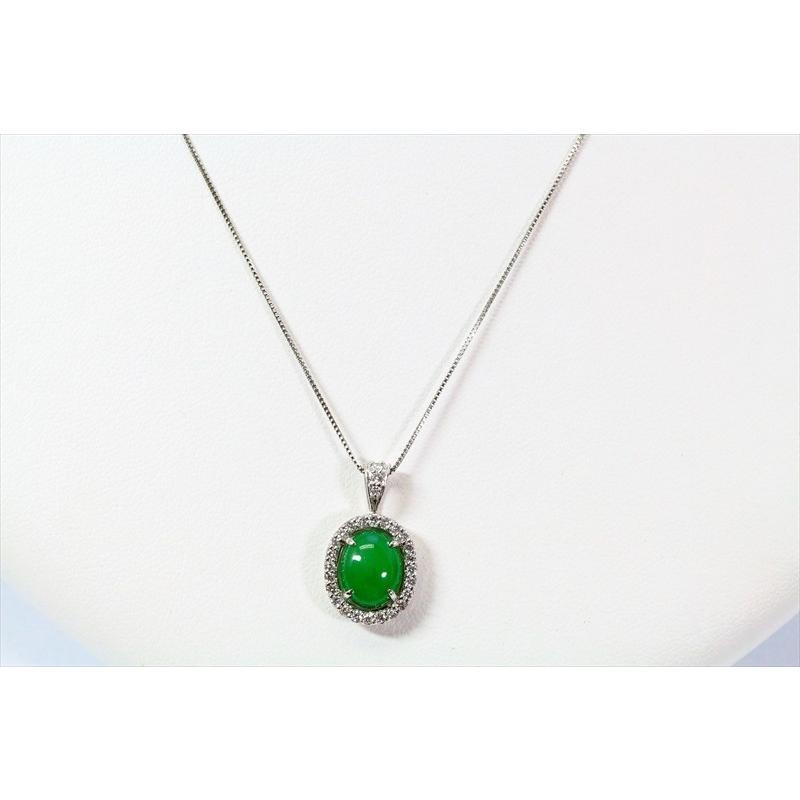 天然 本翡翠 ダイヤモンド ペンダント ネックレス  PT900/PT850 新品 レディース|megumi-1