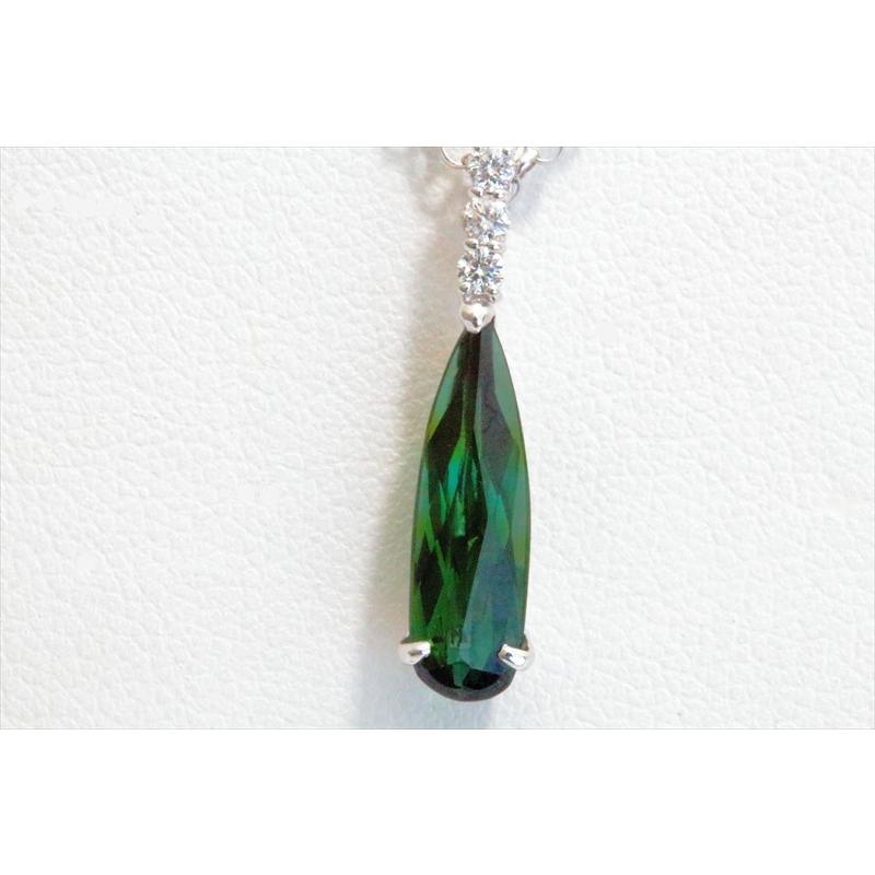 天然 グリーントルマリン ダイヤモンド ペンダント ネックレス K18WG 新品 レディース|megumi-1