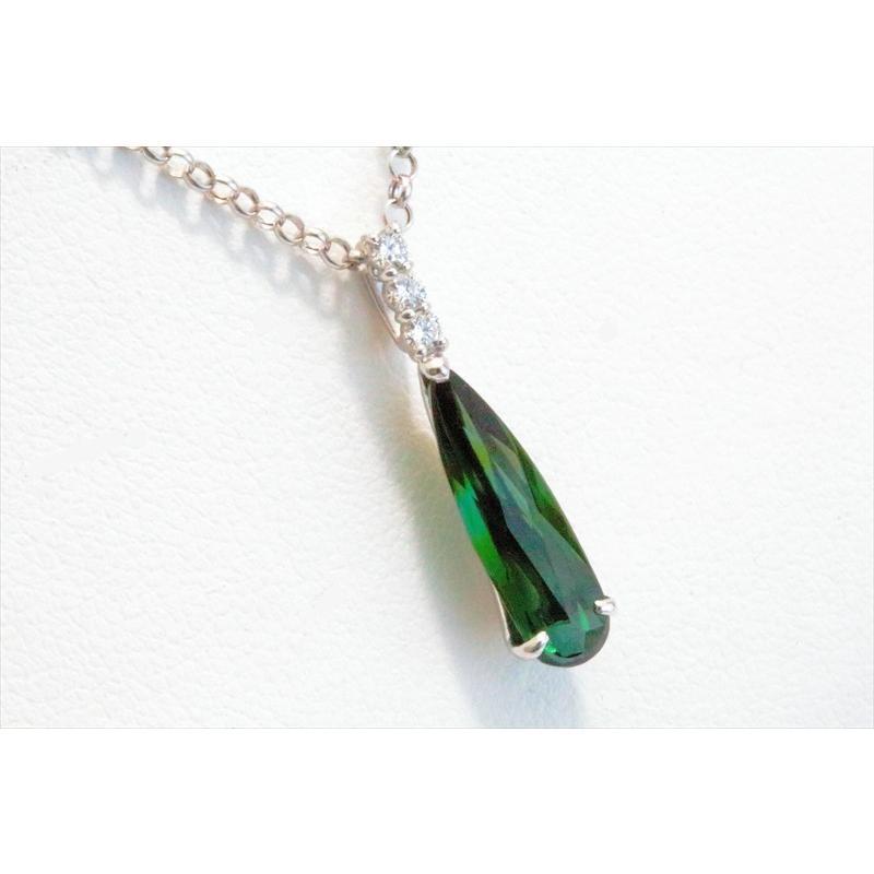 天然 グリーントルマリン ダイヤモンド ペンダント ネックレス K18WG 新品 レディース|megumi-1|02
