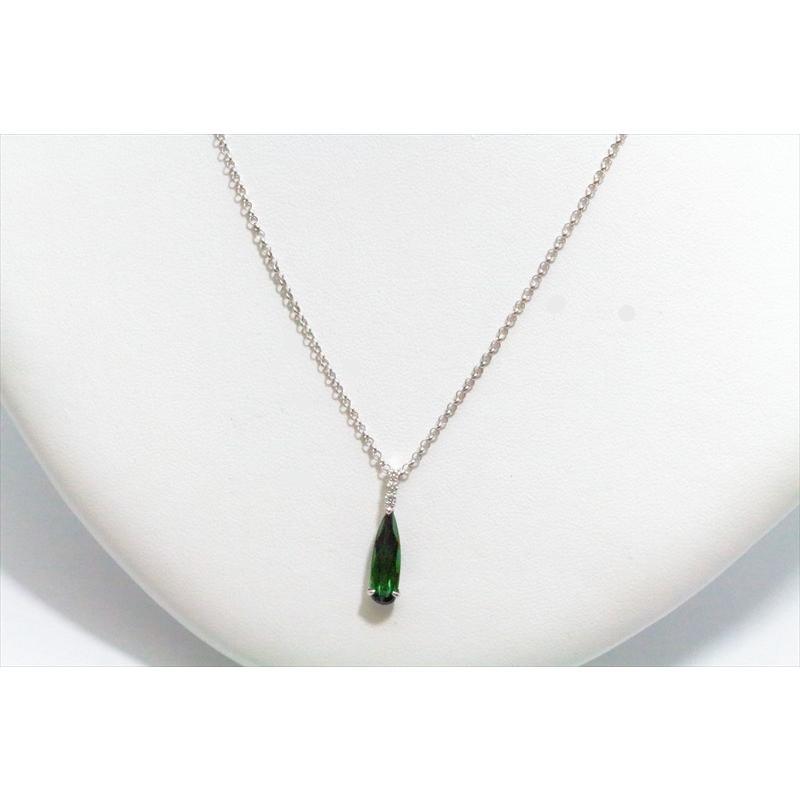天然 グリーントルマリン ダイヤモンド ペンダント ネックレス K18WG 新品 レディース|megumi-1|03