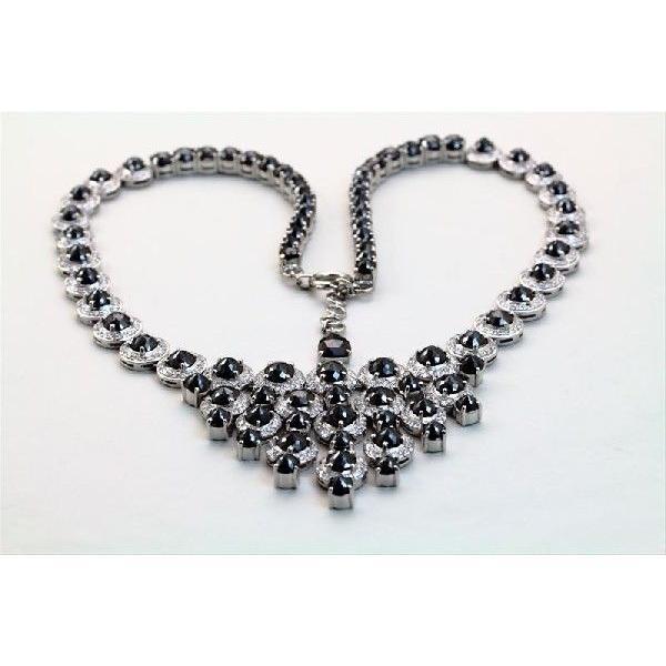天然 ホワイトダイヤモンド ブラックダイヤモンド ネックレス K18WG  新品 レディース|megumi-1|03