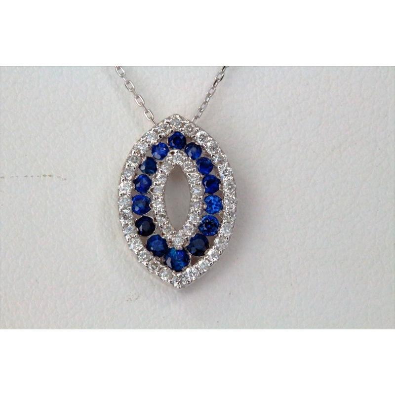 天然 ブルーサファイア ダイヤモンド ペンダント ネックレス  K18WG 新品 レディース|megumi-1