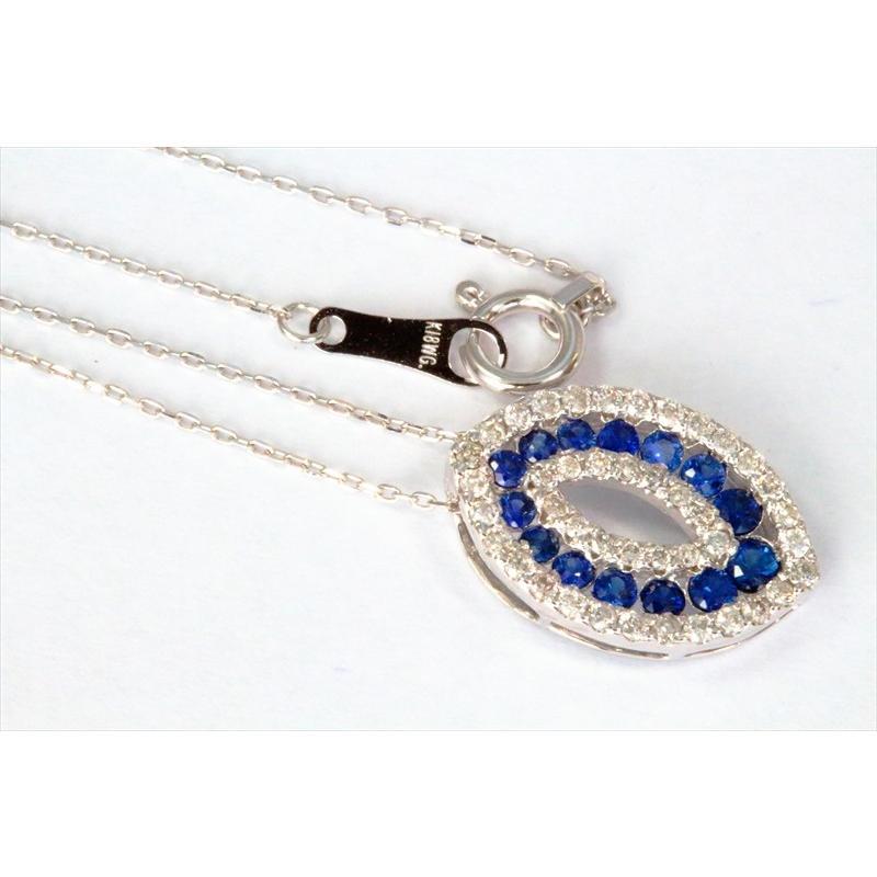 天然 ブルーサファイア ダイヤモンド ペンダント ネックレス  K18WG 新品 レディース|megumi-1|02