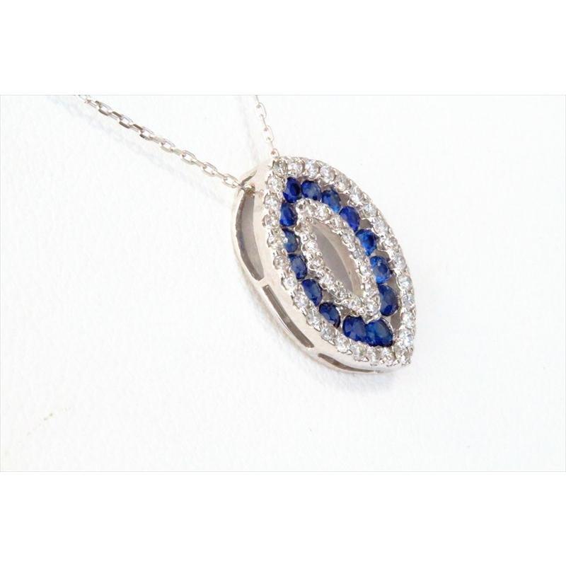 天然 ブルーサファイア ダイヤモンド ペンダント ネックレス  K18WG 新品 レディース|megumi-1|03
