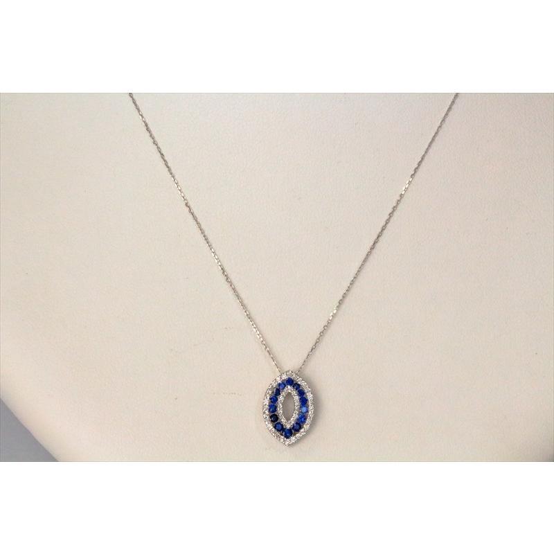 天然 ブルーサファイア ダイヤモンド ペンダント ネックレス  K18WG 新品 レディース|megumi-1|05