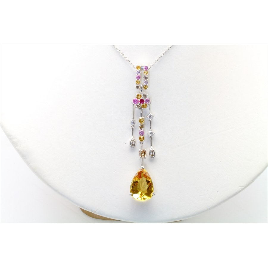 イエロー ベリル 8.61ct  ダイヤモンド サファイア ネックレス K18WG 新品 レディース|megumi-1|02