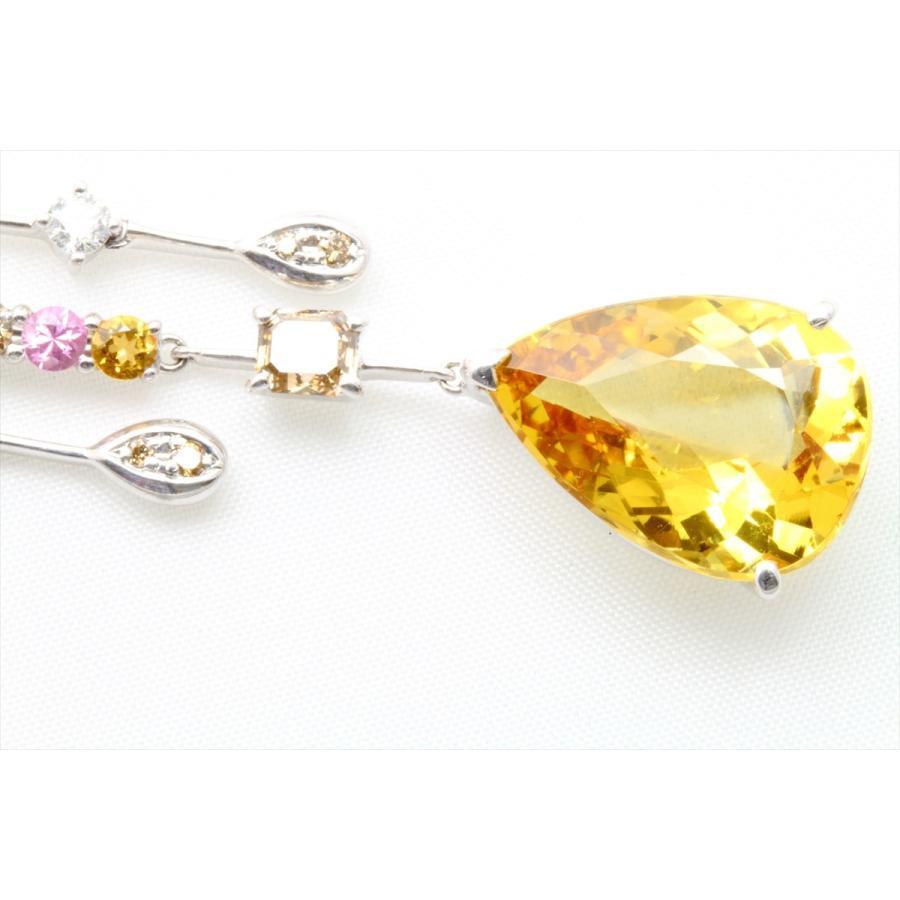 イエロー ベリル 8.61ct  ダイヤモンド サファイア ネックレス K18WG 新品 レディース|megumi-1|03