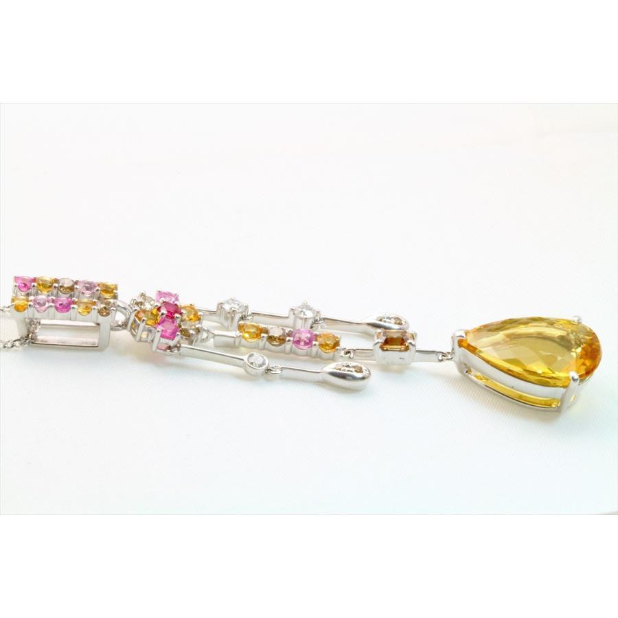 イエロー ベリル 8.61ct  ダイヤモンド サファイア ネックレス K18WG 新品 レディース|megumi-1|04