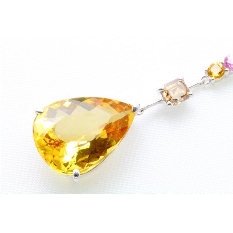イエロー ベリル 8.61ct  ダイヤモンド サファイア ネックレス K18WG 新品 レディース|megumi-1|06