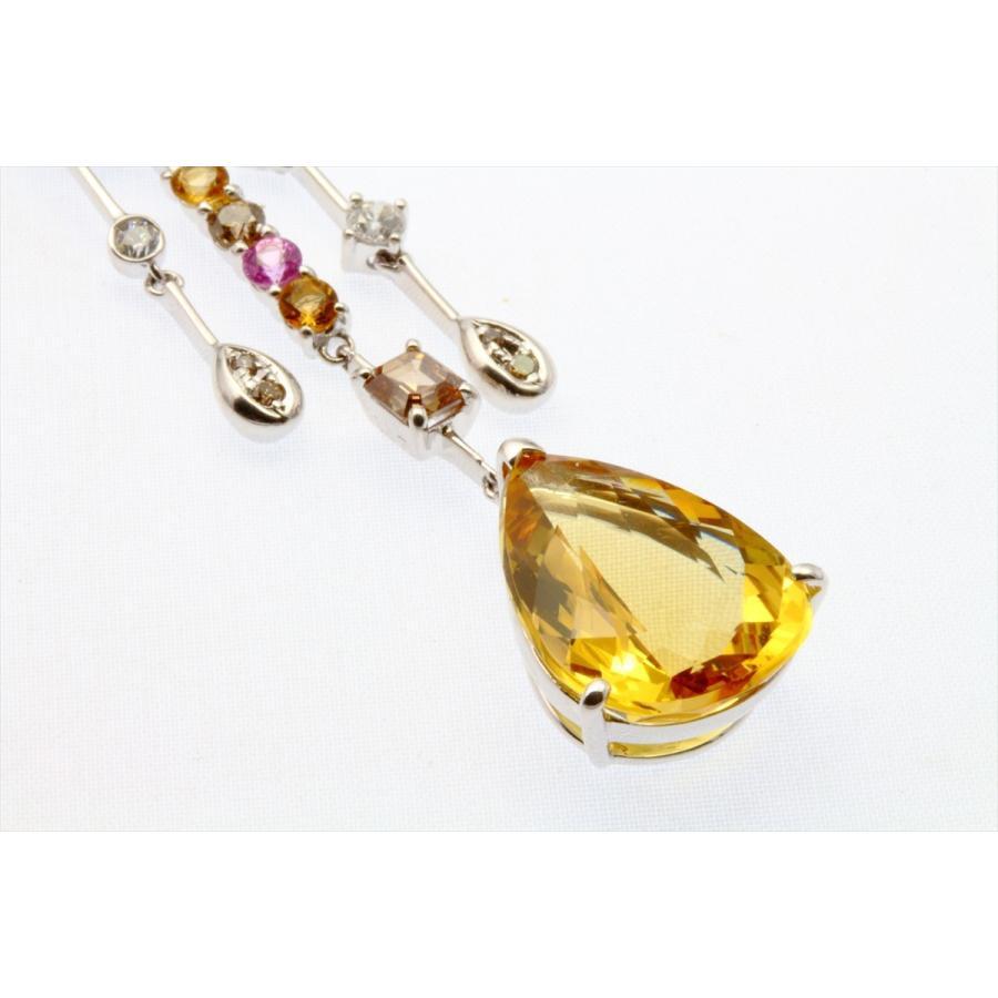 イエロー ベリル 8.61ct  ダイヤモンド サファイア ネックレス K18WG 新品 レディース|megumi-1|08