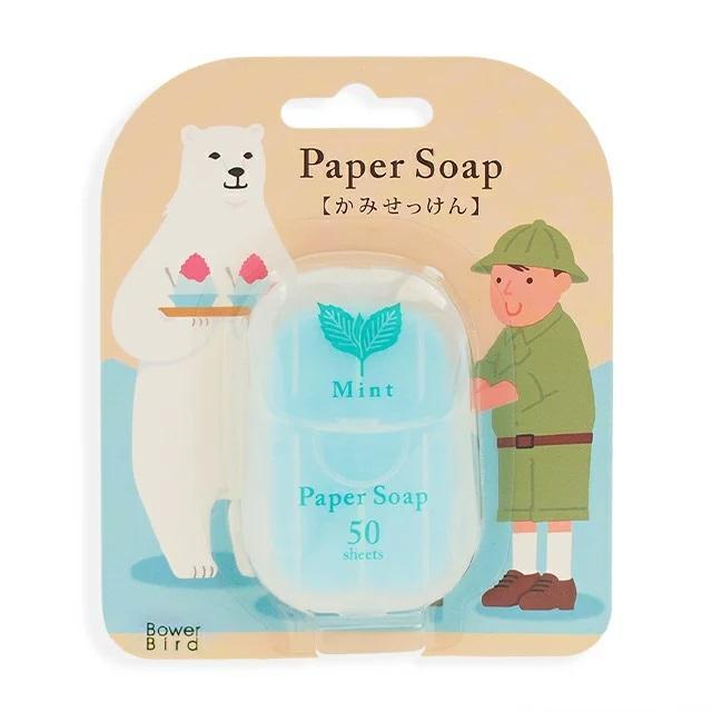【メール便可】ペーパーソープ50枚入り ミントの香り 持ち運びできる手洗い石けん meia-lua