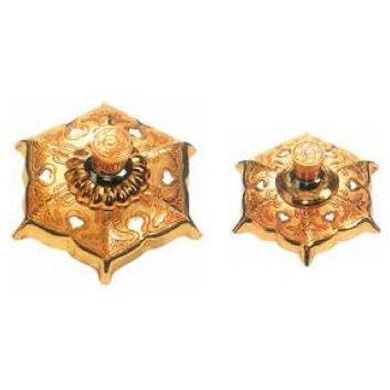釘隠六葉金具(真鍮製金メッキ)4寸 1個価格 / 金物 飾り 釘かくし 神社 寺