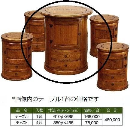 ニレ欅 丸チェスト テーブル 610φx685*1台価格 / 家具 民芸 テーブル チェスト たんす 和