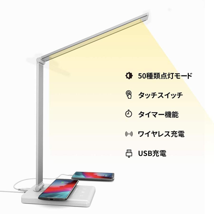 デスクライト LED スタンドライト 卓上ライト ワイヤレス充電対応 タッチパネル式 5段階調色 10段階調光 折り畳み式 USB充電ポート付き 省エネ 読書/勉強/仕事用 meichepro 02