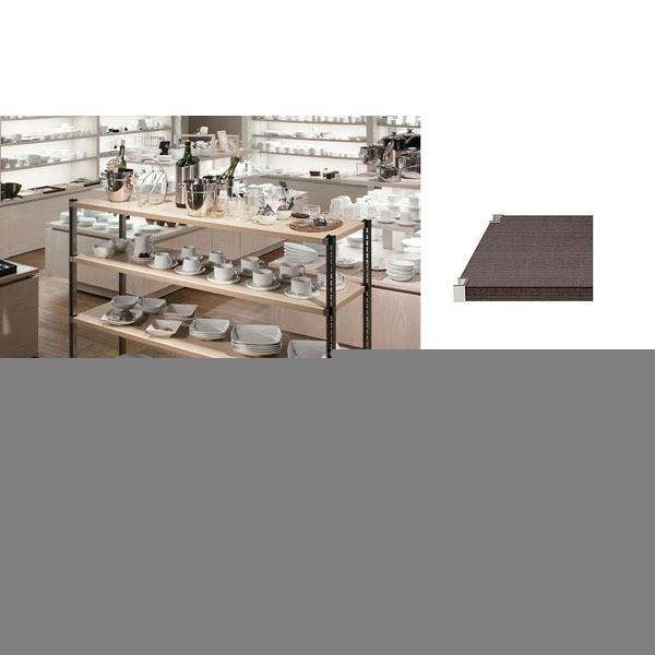 KWシェルフ木製ダーク+スチールSポスト 60×90×H150cm×5段 60×90×H150cm×5段