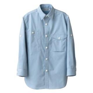 【まとめ買い10個セット品】 男女兼用七分袖シャツ CH4434-1 サックス L