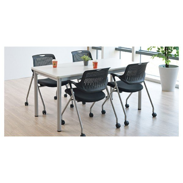 ミーティングテーブルソフトエッジ180×90cmホワイト ミーティングテーブルソフトエッジ180×90cmホワイト