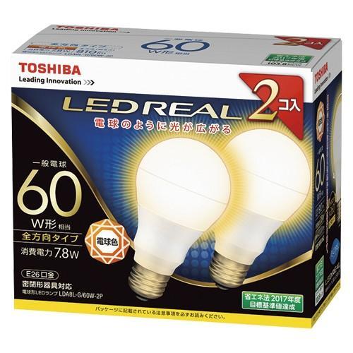 【まとめ買い10個セット品】 E-CORE[イー・コア] LED電球 一般電球形 全方向タイプ 全方向タイプ 全光束810lm LDA8L-G/60W-2P 2個 東芝 【メーカー直送/代金引換決済不可】