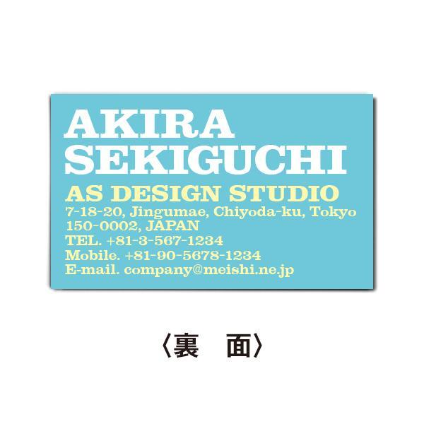 名刺作成 おしゃれ デザイン ビジネス名刺(biz173) インパクトタイポグラフィ・ライトブルー 100枚|meishi-create|03