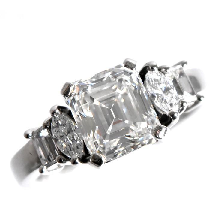 豪華で新しい リング ユニセックス Pt900 ダイヤモンド エメラルドカット スクエア 17号 2.764ct 9.0g, ドライブマーケット2号店 fbcc0150