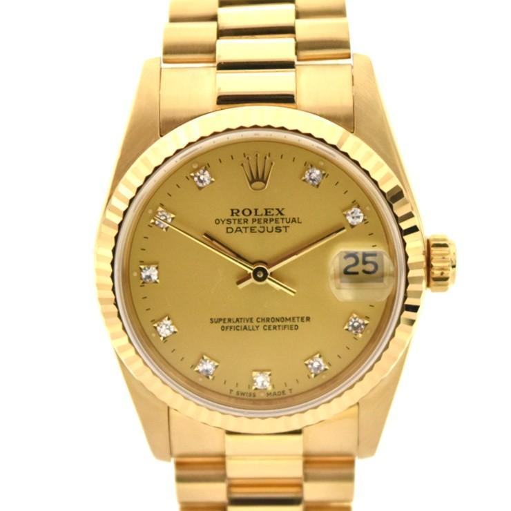 【国内発送】 ロレックス デイトジャスト 10Pダイヤ ボーイズ腕時計 自動巻き K18 68278G N番 ROLEX, トミオカマチ 6b5a2596