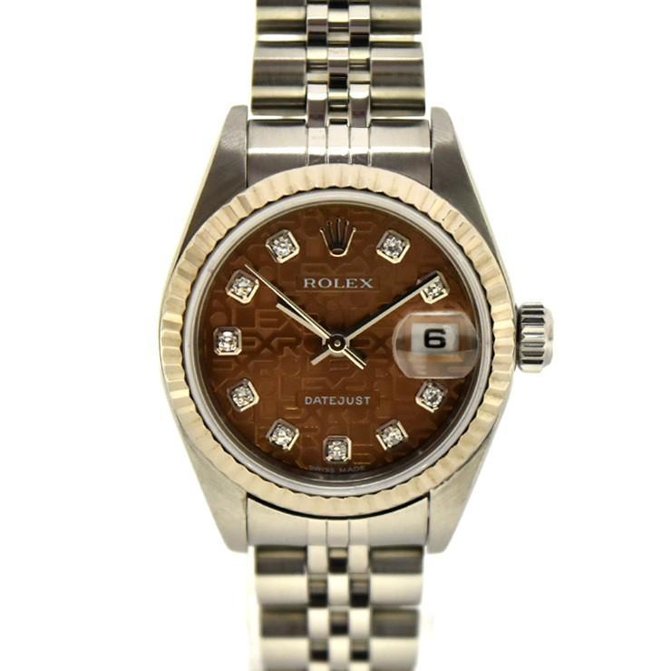 史上一番安い ロレックス デイトジャスト 10Pダイヤ レディース 腕時計 自動巻き SS×WG ハバナブラウン コンピューター文字盤 79174G F番 ROLEX, ニタグン dd364af1