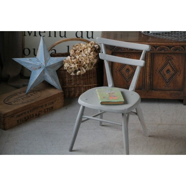 イギリス アンティーク 家具 ブルーのペイントが可愛い アーコール 社 チャイルドチェア ( 子供椅子 )