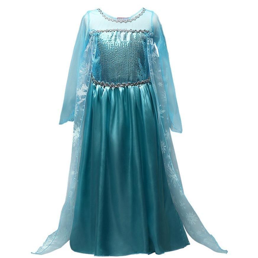 エルサ 風 アナ雪 衣装 コスチューム 子供 ロング ドレス ワンピース クリスマス プレゼント パーティー 豪華8点 セット|mememikan|03