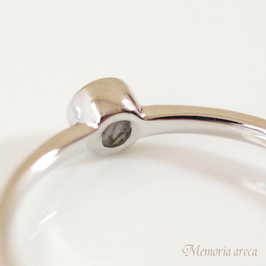 メモリアルリングMR28 地金:K18WG (18Kホワイトゴールド×3mmのダイヤモンドまたは誕生石) 〜遺骨を内側にジェル封入する完全防水の指輪〜|memoriaareca|07
