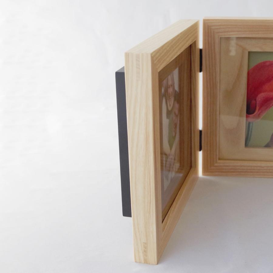 ミニ骨壷が納まった写真立て メモリアルフォトスタンド ウッドシリーズ [ダブルフレーム]|memoriaareca|11