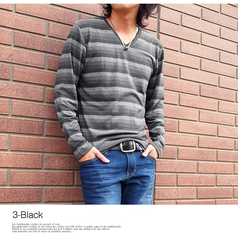 メンズロングTシャツ ボーダーTシャツ  Vネック 長袖Tシャツ カットソー トップス|menscasual|06