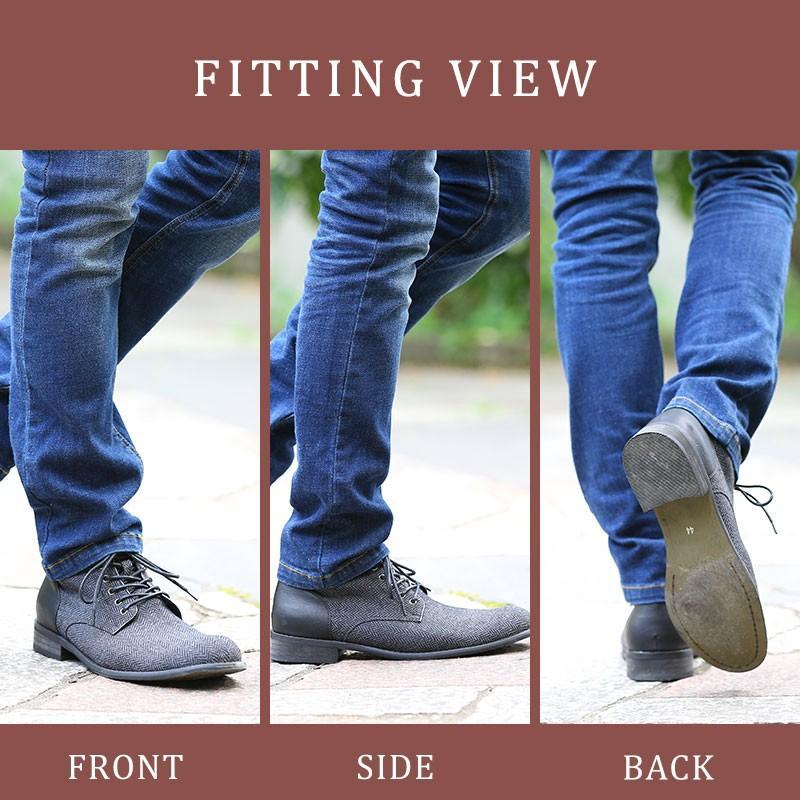 ブーツ メンズ ツィード サイドジップ PU レザー 靴 モテ おしゃれ かっこいい 30代 40代 50代 MENZ-STYLE メンズスタイル|menz-style|15