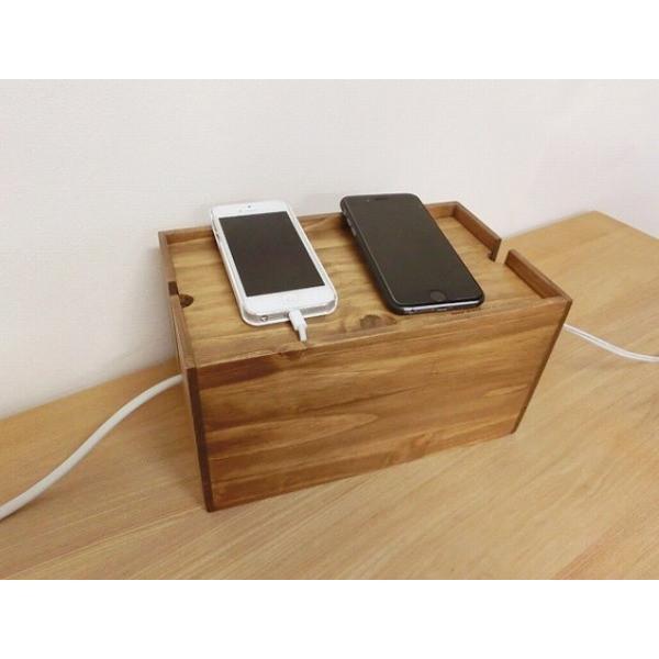 アンティーク風 パインケーブルボックスS 木箱 収納 小物整理 ウッドボックス Creer クレエ 91500037|merci-p