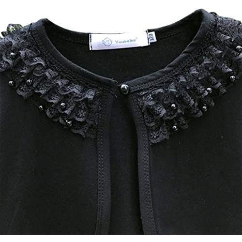 キッズ ボレロ 長袖 フォーマル 女の子ポンチョ 薄手 発表会 入園式 結婚式 (ブラック 150)|merock|04