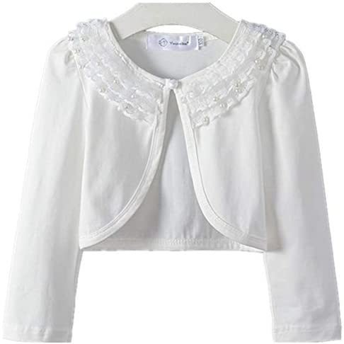 キッズ ボレロ 長袖 フォーマル 女の子ポンチョ 薄手 発表会 入園式 結婚式 (ホワイト 160) merock