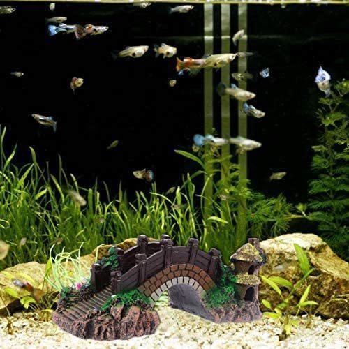 ledmomo 水槽用 オブジェ 橋 アクアリウム オーナメント 樹脂 水槽 装飾 水族館 飾り 観賞魚 熱帯魚(Coffee 25x12cm) merock 02