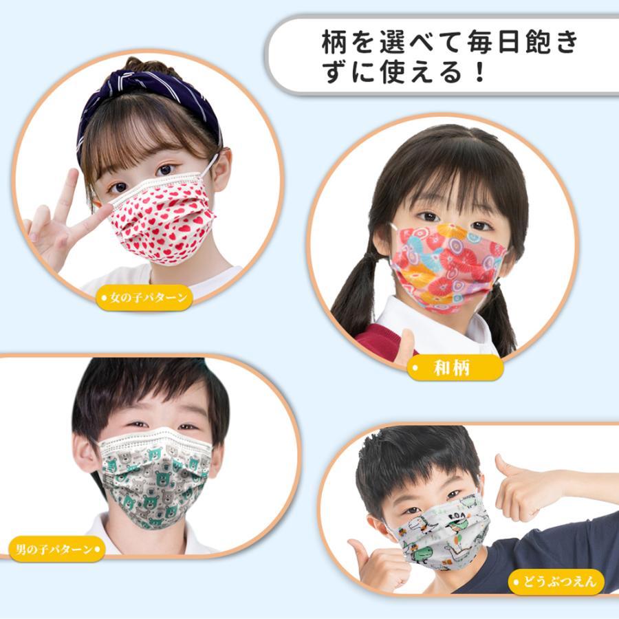 在庫あり 送料無料 マスク 子供 50枚 使い捨てマスク カラー不織布マスク  子供用マスク 14×9cm ホワイト 柄 ピンク グリーン キッズプレゼント12.5×8.2cm|merrylife|16