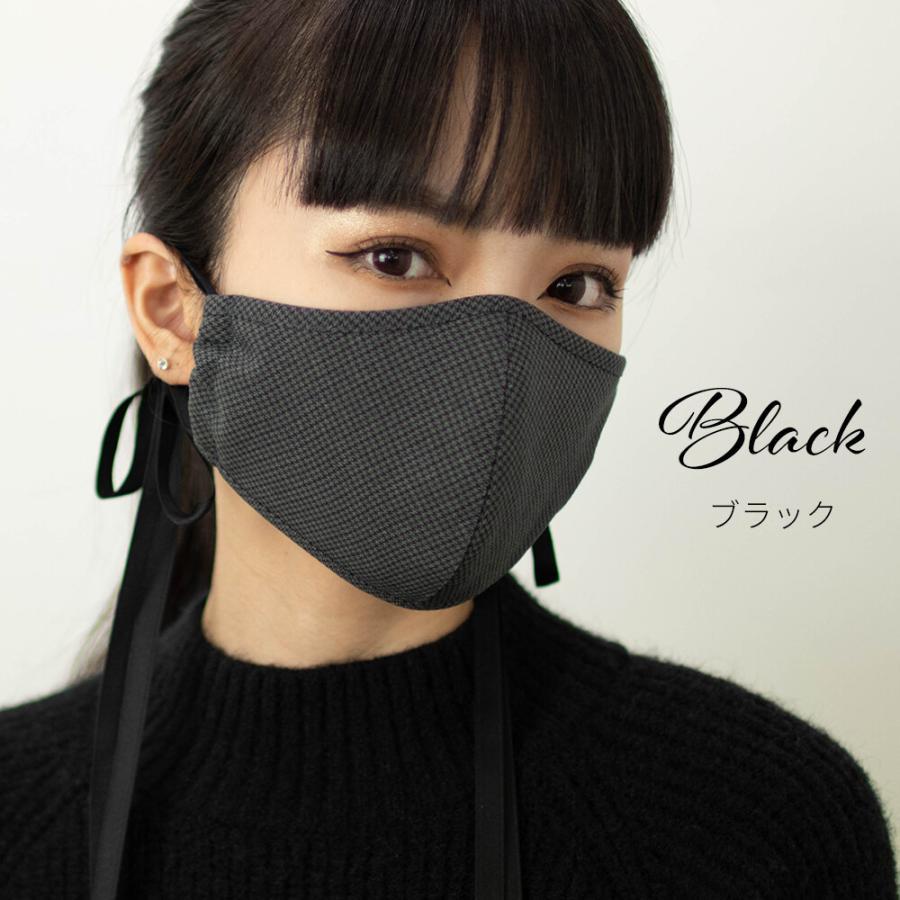 送料無料【日本製】Check Ribbon MASK ノーズワイヤー入りチェックリボンマスク(ブラック)椿オイル シルクプロテイン|mertico|06
