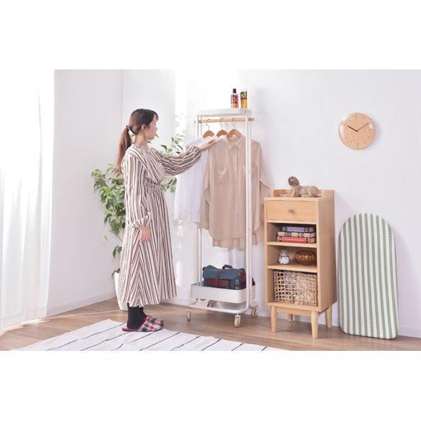Sylph Hanger rack ハンガーワゴン 収納カゴ付き 2color ハンガーラック|mertico|03