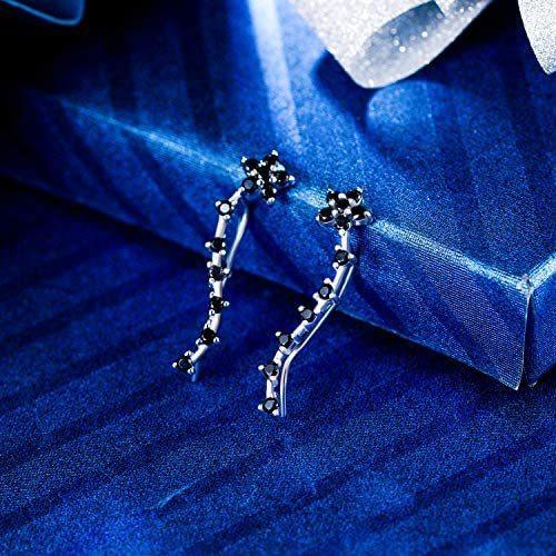 [エレクイーン]EleQueen レディース 925 スターリングシルバー ジルコン 花 耳飾り クローラ スイープ カフス フック ピアス ブラック|mesotes|03