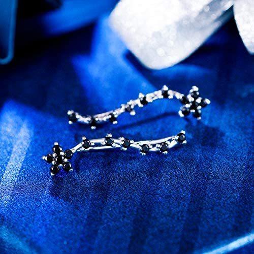 [エレクイーン]EleQueen レディース 925 スターリングシルバー ジルコン 花 耳飾り クローラ スイープ カフス フック ピアス ブラック|mesotes|04