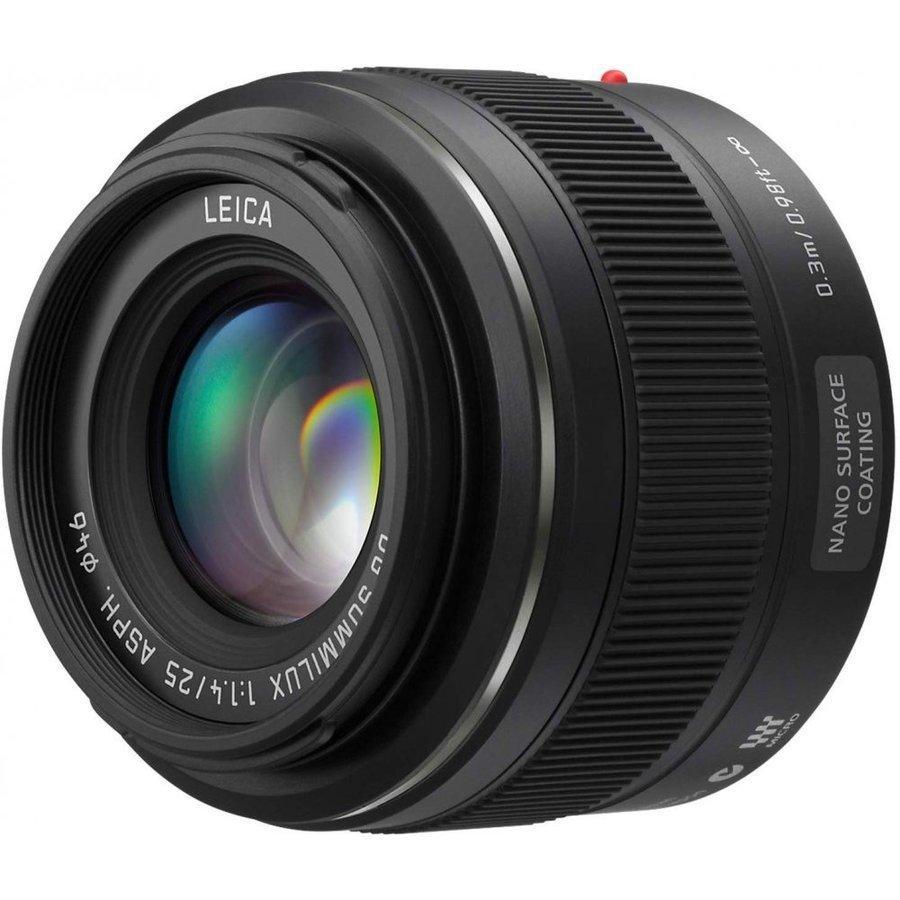 【送料無料】交換レンズ Panasonic パナソニック 単焦点レンズ ライカ DG SUMMILUX 25mm/F1.4 ASPH. ブラック H-X025【中古】|mevius-camera