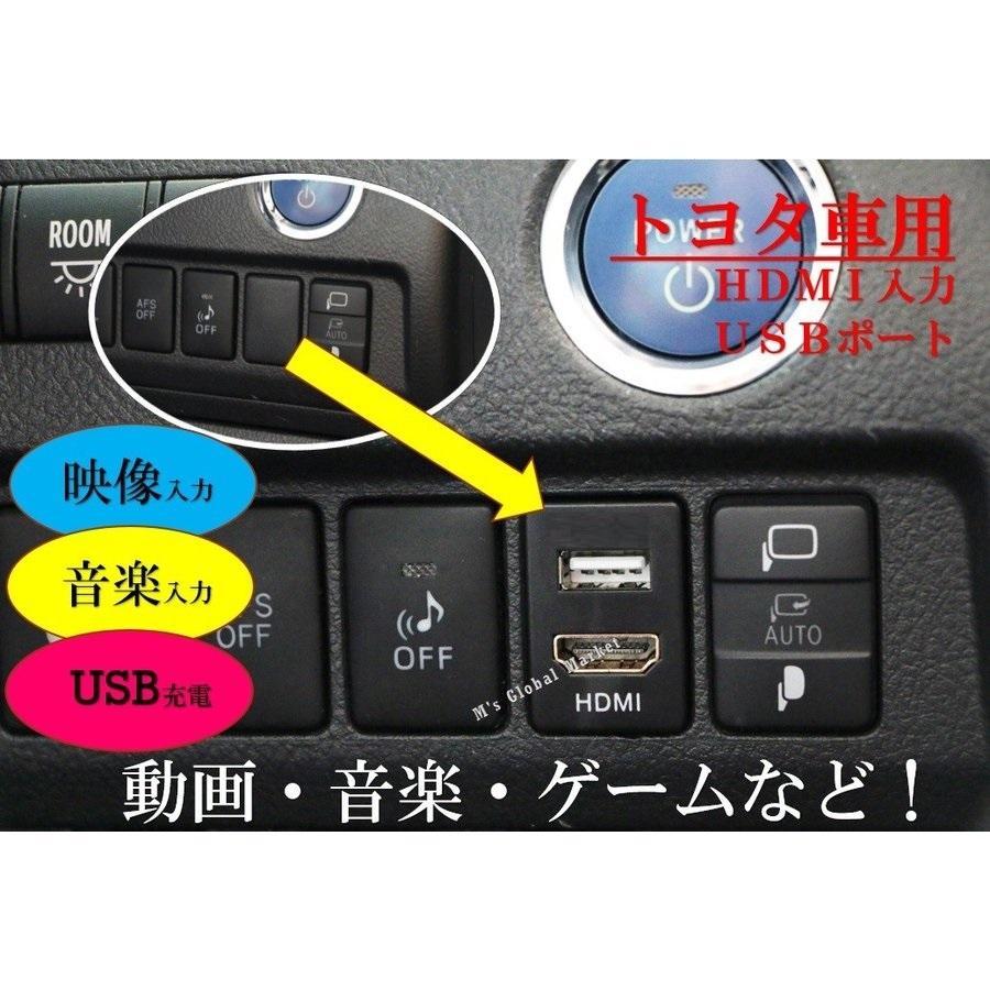 トヨタ車用 HDMI 入力& USB 電源ポート搭載 スイッチホール アンドロイド スマホ iphone対応|mgmarket