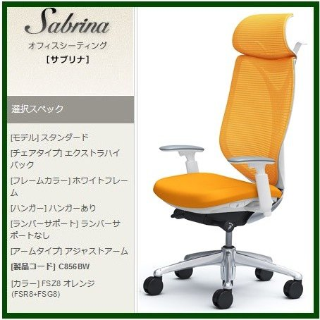 オカムラ オカムラ サブリナ オフィスチェア 高機能事務椅子 スタンダード可動肘EXハイバック(ホワイトボディ・ハンガー付) C856BW-FS 高級事務イス