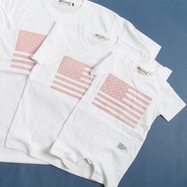 CAMPFREE 親子 ペアtシャツ ブランド お揃い Tシャツ おしゃれ ロンパース 半袖 ベビー服 男の子 女の子 親子コーデ 兄弟 家族 夫婦 星条旗 ペアルック 白 mha 17