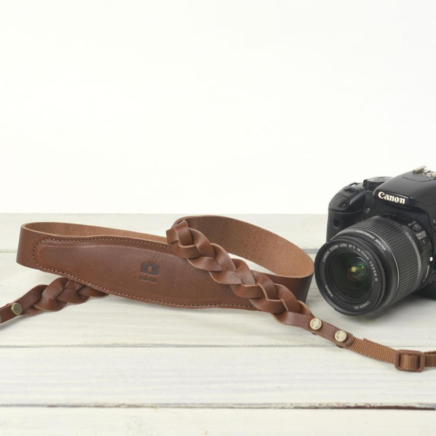 カメラストラップ camera strap 一眼レフ ミラーレス一眼用 三つ編みレザー チョコ|mi-na|02