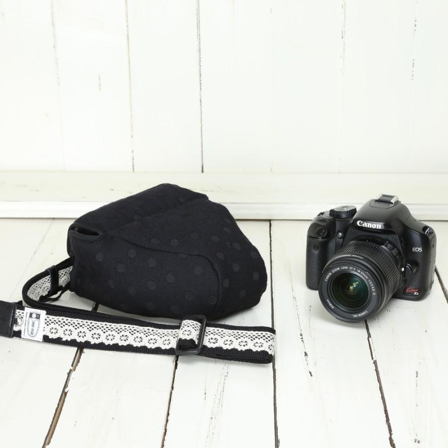 カメラケース camera case 一眼レフ用 「カメラのお洋服 スリム」 エレガントブラックレディードット mi-na 03