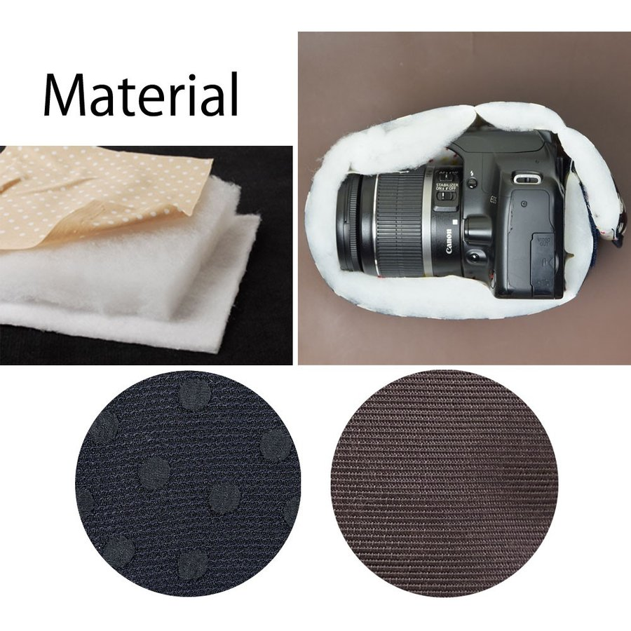 カメラケース camera case 一眼レフ用 「カメラのお洋服 スリム」 エレガントブラックレディードット mi-na 06