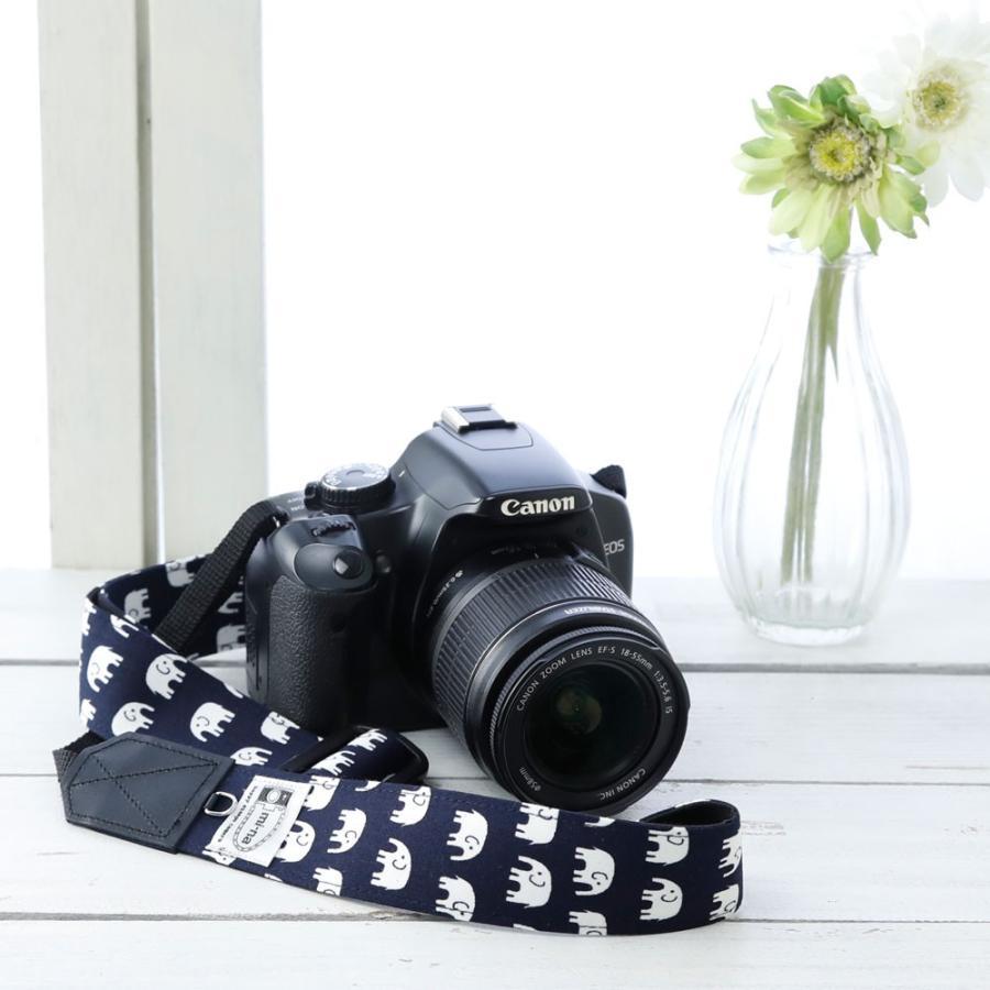 カメラストラップ camera strap 一眼レフ ミラーレス一眼用 ハッピーエレファントネイビー 3.5cm幅フリータイプ mi-na 02